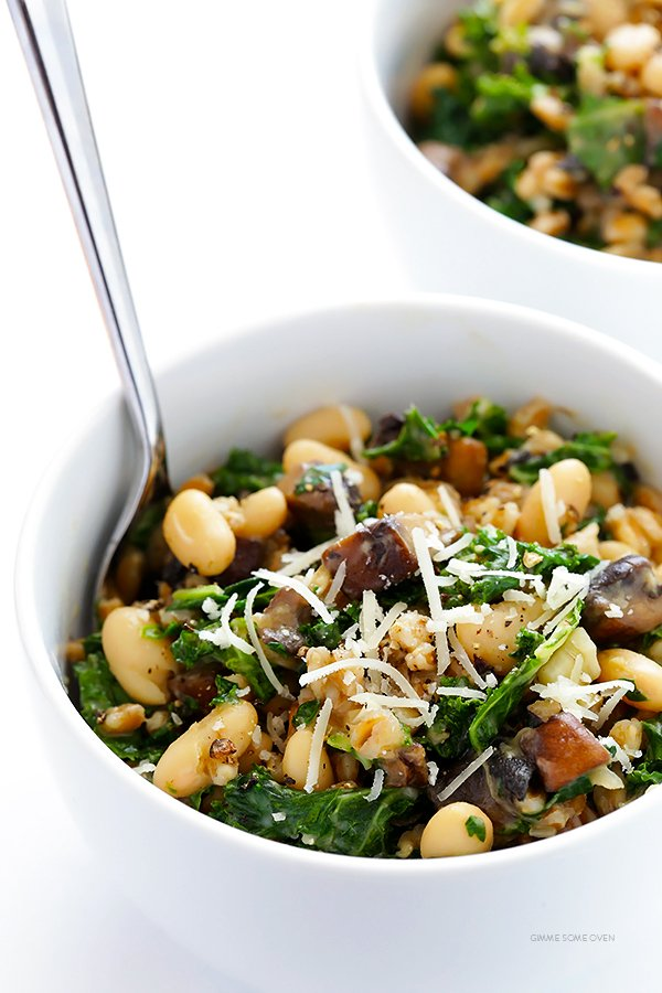 Creamy Farro with White Beans and Kale Recipe
